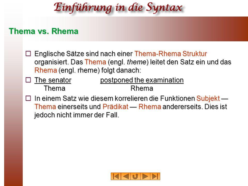 Thema vs.Rhema  Englische Sätze sind nach einer Thema-Rhema Struktur organisiert.