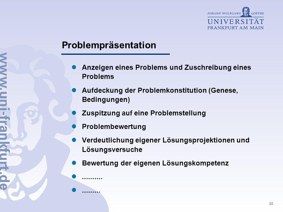 10 Problempräsentation Anzeigen eines Problems und Zuschreibung eines Problems Aufdeckung der Problemkonstitution (Genese, Bedingungen) Zuspitzung auf eine Problemstellung Problembewertung Verdeutlichung eigener Lösungsprojektionen und Lösungsversuche Bewertung der eigenen Lösungskompetenz...................