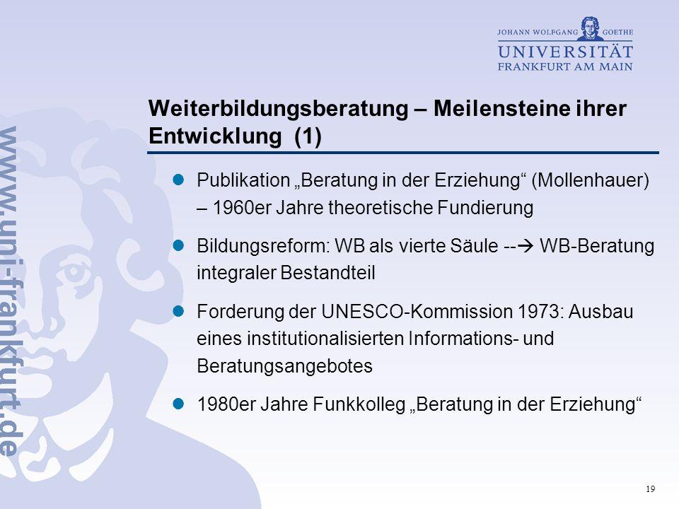 """19 Weiterbildungsberatung – Meilensteine ihrer Entwicklung (1) Publikation """"Beratung in der Erziehung"""" (Mollenhauer) – 1960er Jahre theoretische Fundi"""