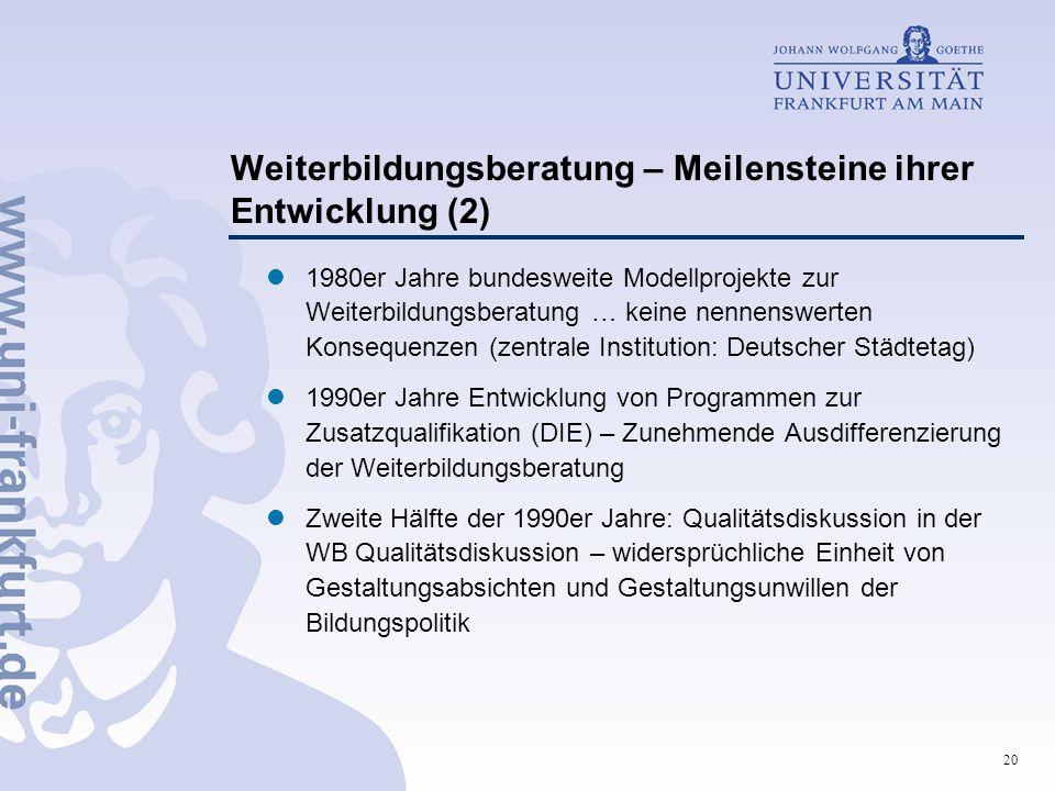 20 Weiterbildungsberatung – Meilensteine ihrer Entwicklung (2) 1980er Jahre bundesweite Modellprojekte zur Weiterbildungsberatung … keine nennenswerte