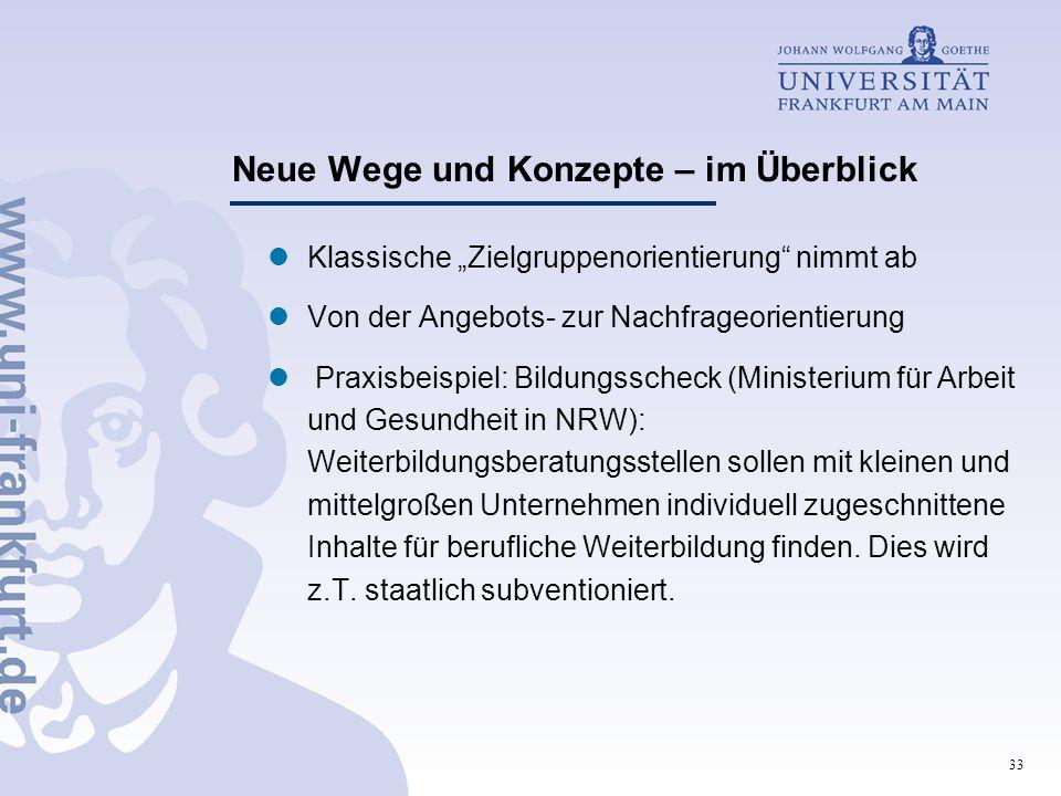 """33 Neue Wege und Konzepte – im Überblick Klassische """"Zielgruppenorientierung"""" nimmt ab Von der Angebots- zur Nachfrageorientierung Praxisbeispiel: Bil"""
