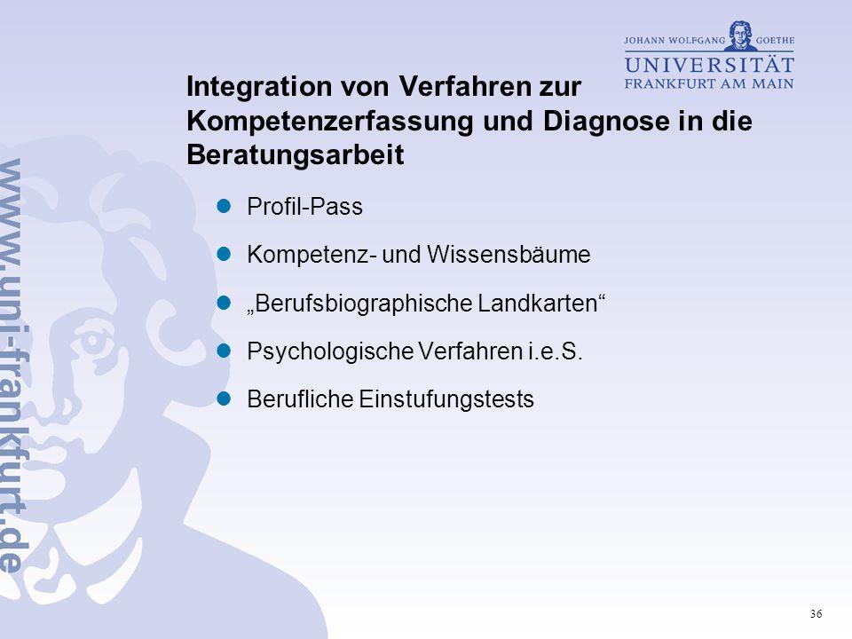 """36 Integration von Verfahren zur Kompetenzerfassung und Diagnose in die Beratungsarbeit Profil-Pass Kompetenz- und Wissensbäume """"Berufsbiographische Landkarten Psychologische Verfahren i.e.S."""