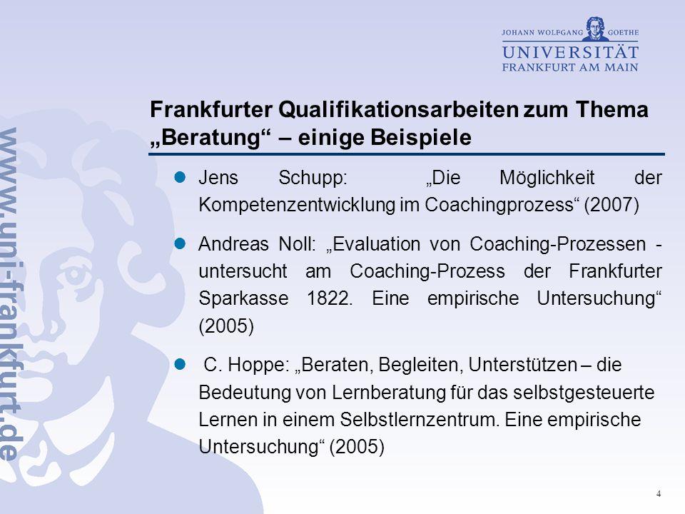 """4 Frankfurter Qualifikationsarbeiten zum Thema """"Beratung"""" – einige Beispiele Jens Schupp: """"Die Möglichkeit der Kompetenzentwicklung im Coachingprozess"""