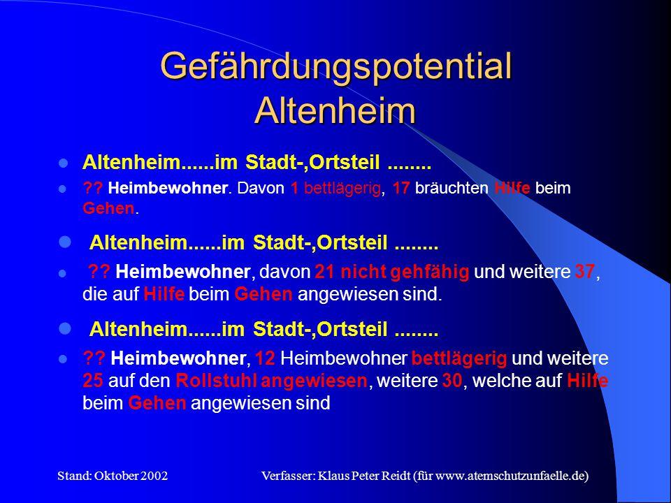 Stand: Oktober 2002Verfasser: Klaus Peter Reidt (für www.atemschutzunfaelle.de) Gefährdungspotential BAB und B Keine Einsatzbereitschaft = keine wirksame (schnelle) Hilfe = potentielle Gefährdung der Bevölkerung durch Schadensausbreitung
