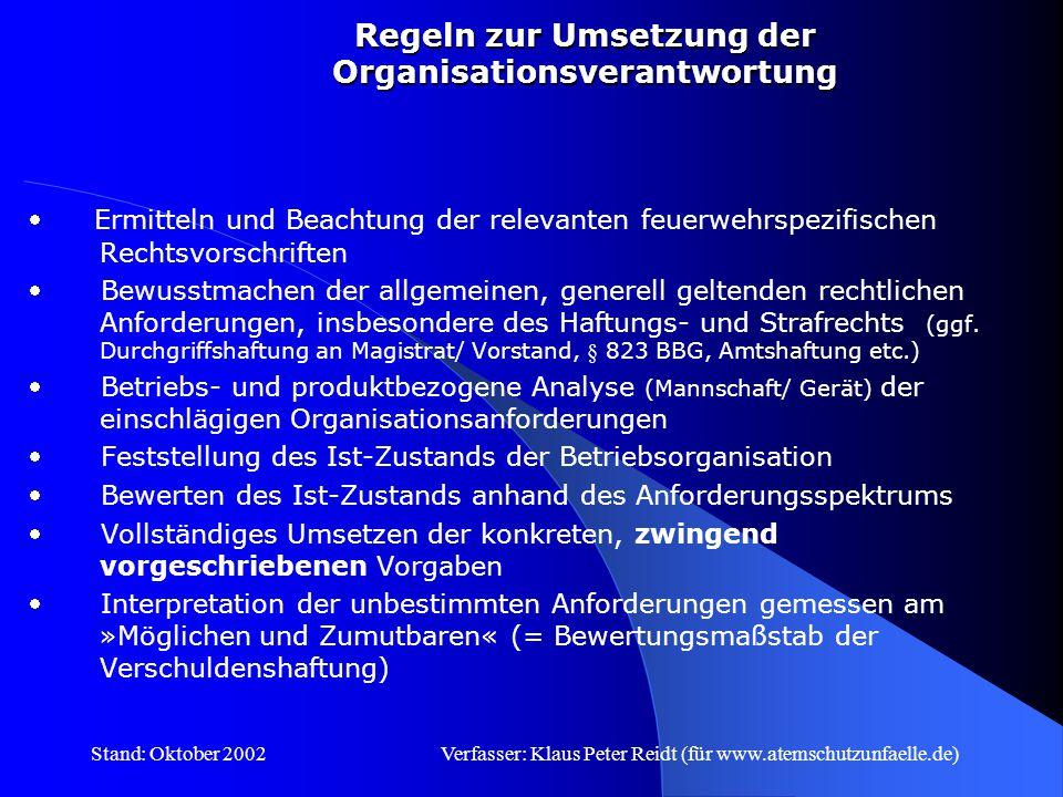 Stand: Oktober 2002Verfasser: Klaus Peter Reidt (für www.atemschutzunfaelle.de) Organisationsverschulden Selektionsverschulden Anweisungsverschulden Überwachungsverschulden § 130 OwiG unterstreicht die General- verantwortung der Unternehmensleitung