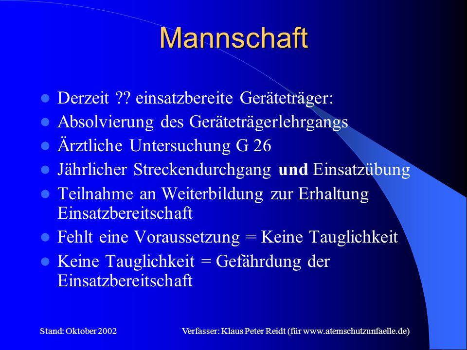 Stand: Oktober 2002Verfasser: Klaus Peter Reidt (für www.atemschutzunfaelle.de) Was umfasst der Atemschutzbereich .