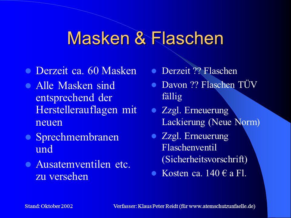 Stand: Oktober 2002Verfasser: Klaus Peter Reidt (für www.atemschutzunfaelle.de) Geräte .