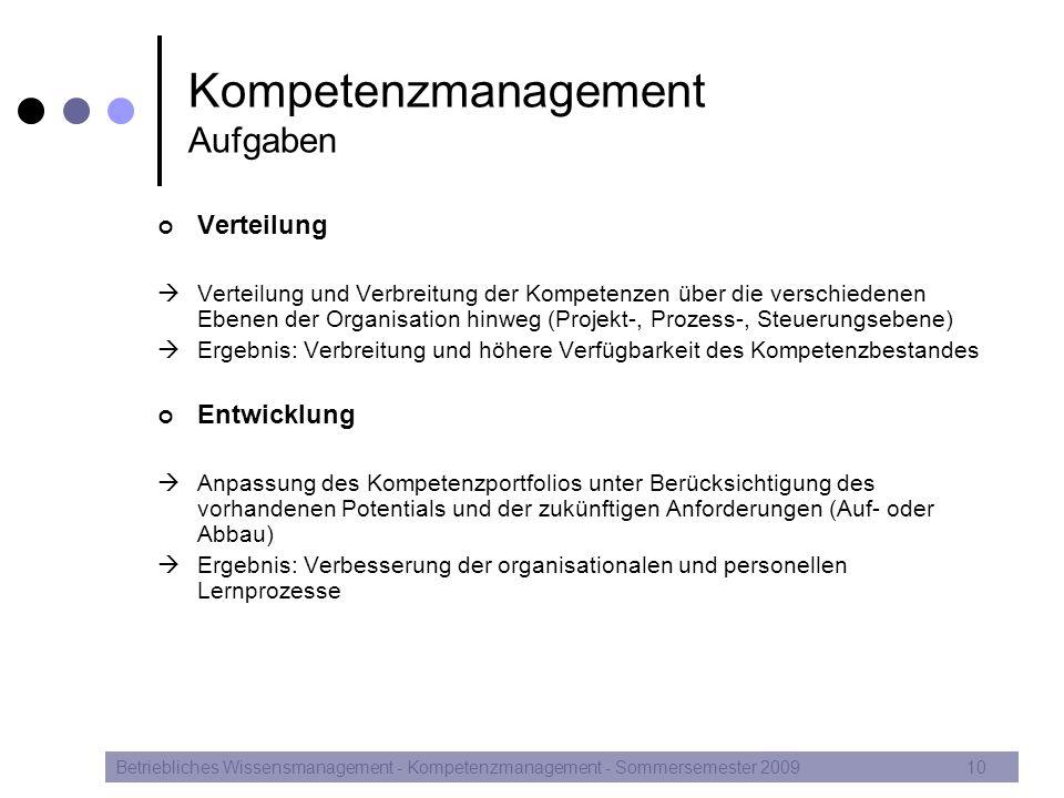 Kompetenzmanagement Aufgaben Verteilung  Verteilung und Verbreitung der Kompetenzen über die verschiedenen Ebenen der Organisation hinweg (Projekt-,