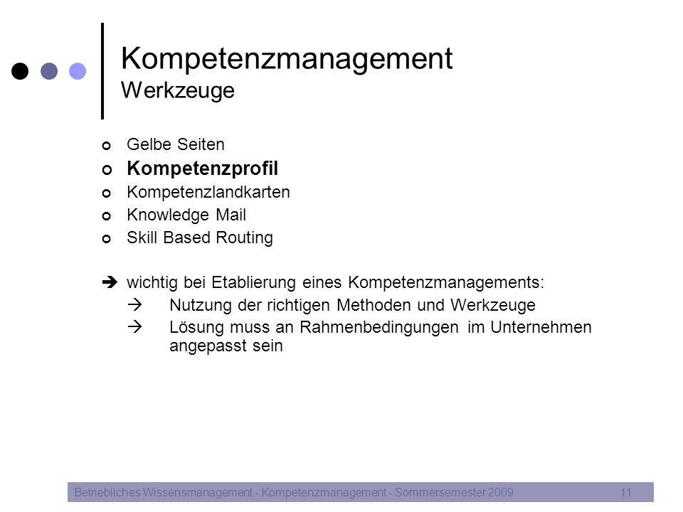 Kompetenzmanagement Werkzeuge Gelbe Seiten Kompetenzprofil Kompetenzlandkarten Knowledge Mail Skill Based Routing  wichtig bei Etablierung eines Komp