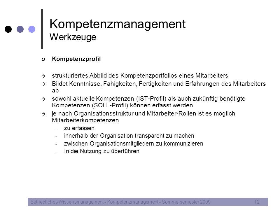 Kompetenzmanagement Werkzeuge Kompetenzprofil  strukturiertes Abbild des Kompetenzportfolios eines Mitarbeiters  Bildet Kenntnisse, Fähigkeiten, Fer