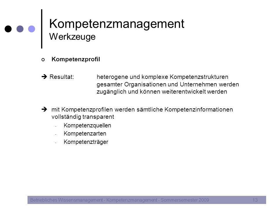 Kompetenzmanagement Werkzeuge Kompetenzprofil  Resultat:heterogene und komplexe Kompetenzstrukturen gesamter Organisationen und Unternehmen werden zu