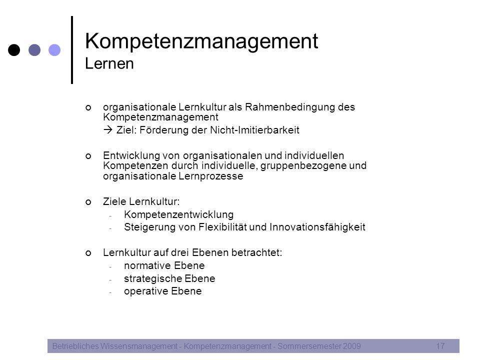 Kompetenzmanagement Lernen organisationale Lernkultur als Rahmenbedingung des Kompetenzmanagement  Ziel: Förderung der Nicht-Imitierbarkeit Entwicklu