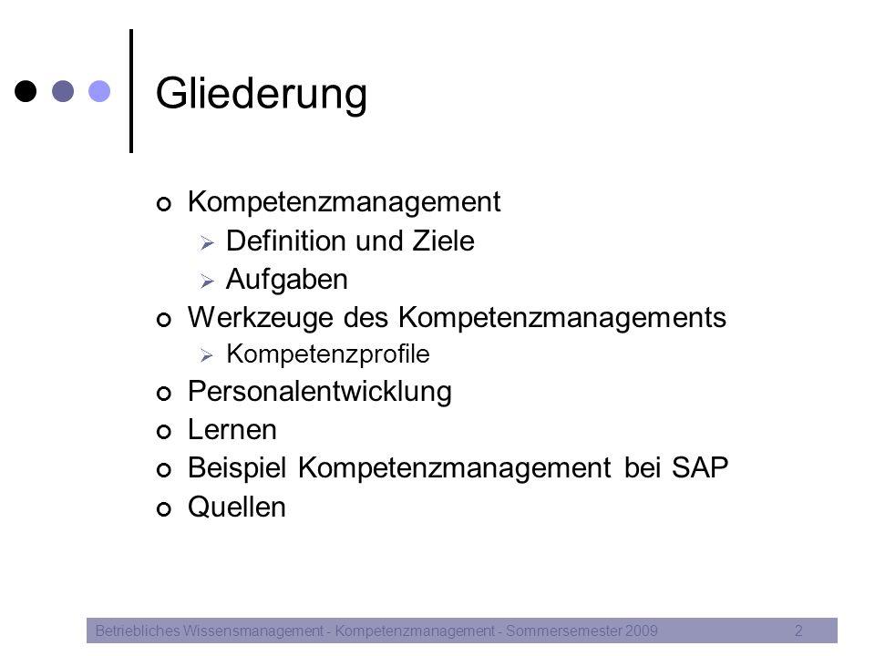 """Kompetenzmanagement Definition Betriebliches Wissensmanagement - Kompetenzmanagement - Sommersemester 20093 """"Kompetenzmanagement geht als Kernaufgabe wissensorientierter Unternehmensführung über das traditionelle Verständnis von Aus- und Weiterbildung hinaus, indem Lernen, Selbstorganisation, Nutzung und Vermarktung der Kompetenzen integriert werden."""