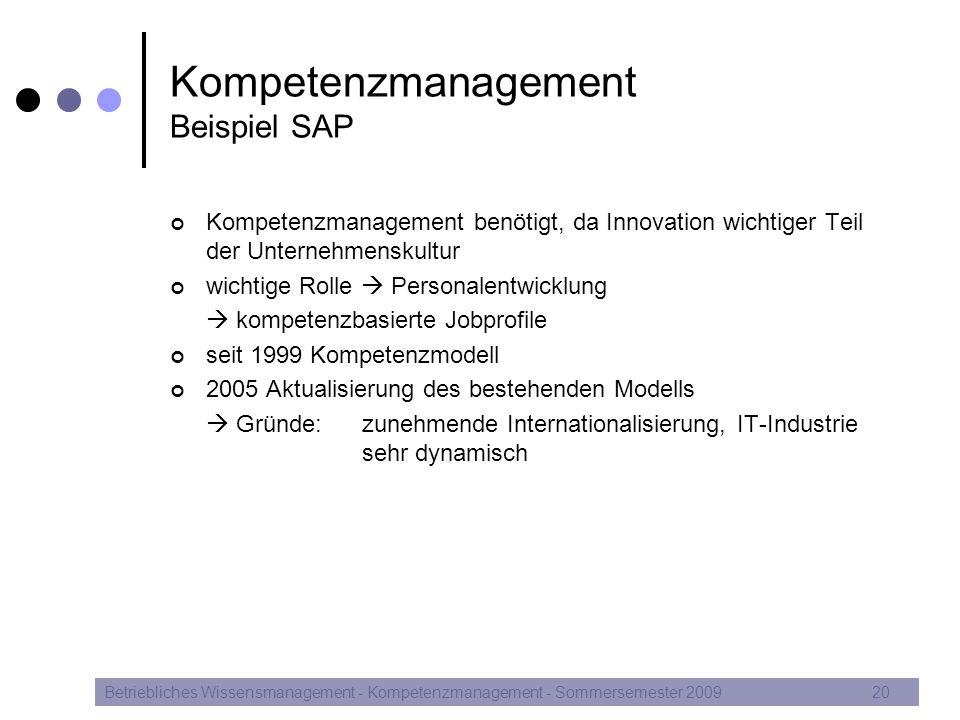 Kompetenzmanagement Beispiel SAP Kompetenzmanagement benötigt, da Innovation wichtiger Teil der Unternehmenskultur wichtige Rolle  Personalentwicklun