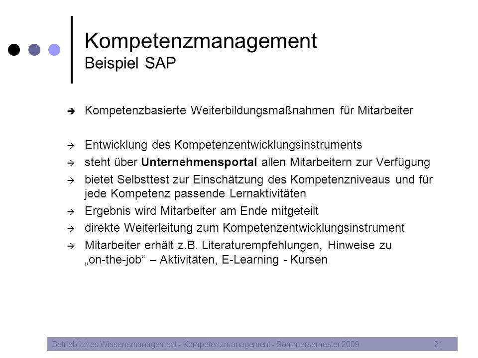 Kompetenzmanagement Beispiel SAP  Kompetenzbasierte Weiterbildungsmaßnahmen für Mitarbeiter  Entwicklung des Kompetenzentwicklungsinstruments  steh