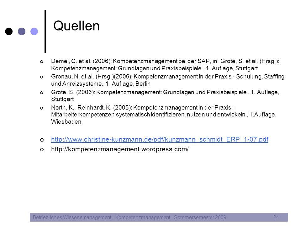 Quellen Demel, C. et al. (2006): Kompetenzmanagement bei der SAP, in: Grote, S. et al. (Hrsg.): Kompetenzmanagement: Grundlagen und Praxisbeispiele.,