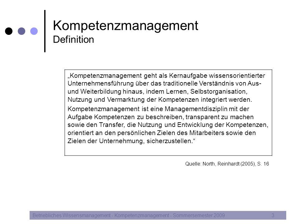 """Kompetenzmanagement Definition Betriebliches Wissensmanagement - Kompetenzmanagement - Sommersemester 20093 """"Kompetenzmanagement geht als Kernaufgabe"""