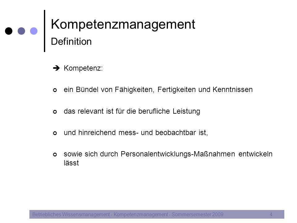 Betriebliches Wissensmanagement - Kompetenzmanagement - Sommersemester 200915 Kompetenzmanagement Personalentwicklungsprozess