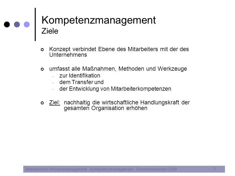 Kompetenzmanagement Verbindung der verschiedenen Ebenen Betriebliches Wissensmanagement - Kompetenzmanagement - Sommersemester 20098 Quelle: in Anlehnung an North, Reinhardt (2005), S.