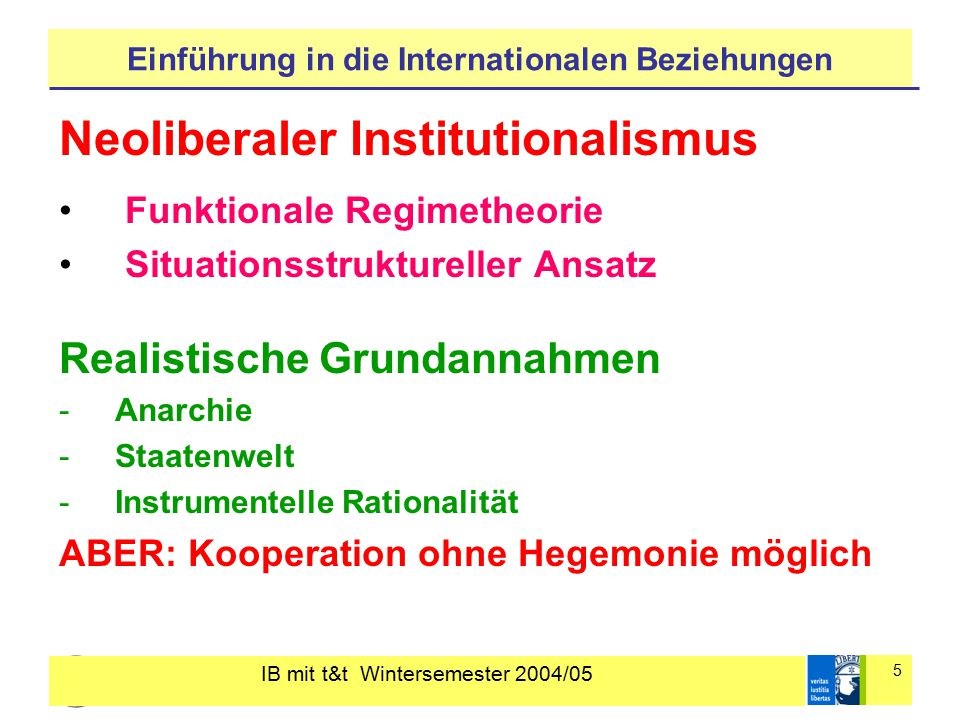 IB mit t&t Wintersemester 2004/05 5 Einführung in die Internationalen Beziehungen Neoliberaler Institutionalismus Funktionale Regimetheorie Situations