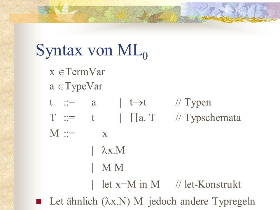 Syntax von ML 0 x  TermVar a  TypeVar t::=a| t  t// Typen T::=t|  a.