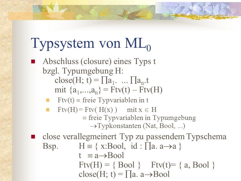 Typsystem von ML 0 Abschluss (closure) eines Typs t bzgl.