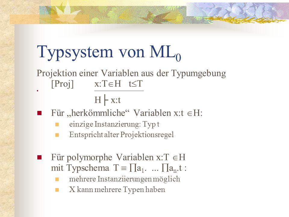 """Typsystem von ML 0 Projektion einer Variablen aus der Typumgebung [Proj]x:T  H t  T  H├ x:t Für """"herkömmliche Variablen x:t  H: einzige Instanzierung: Typ t Entspricht alter Projektionsregel Für polymorphe Variablen x:T  H mit Typschema T   a 1...."""