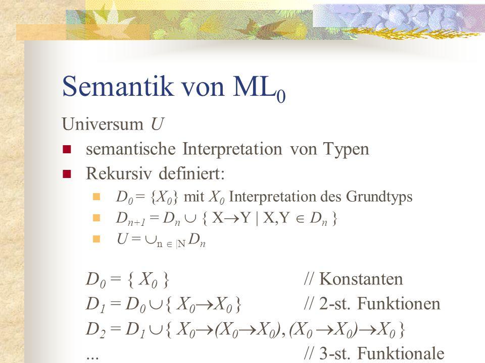 Semantik von ML 0 Universum U semantische Interpretation von Typen Rekursiv definiert: D 0 = {X 0 } mit X 0 Interpretation des Grundtyps D n+1 = D n  { X  Y | X,Y  D n } U =  n  |N D n D 0 = { X 0 }// Konstanten D 1 = D 0  { X 0  X 0 }// 2-st.