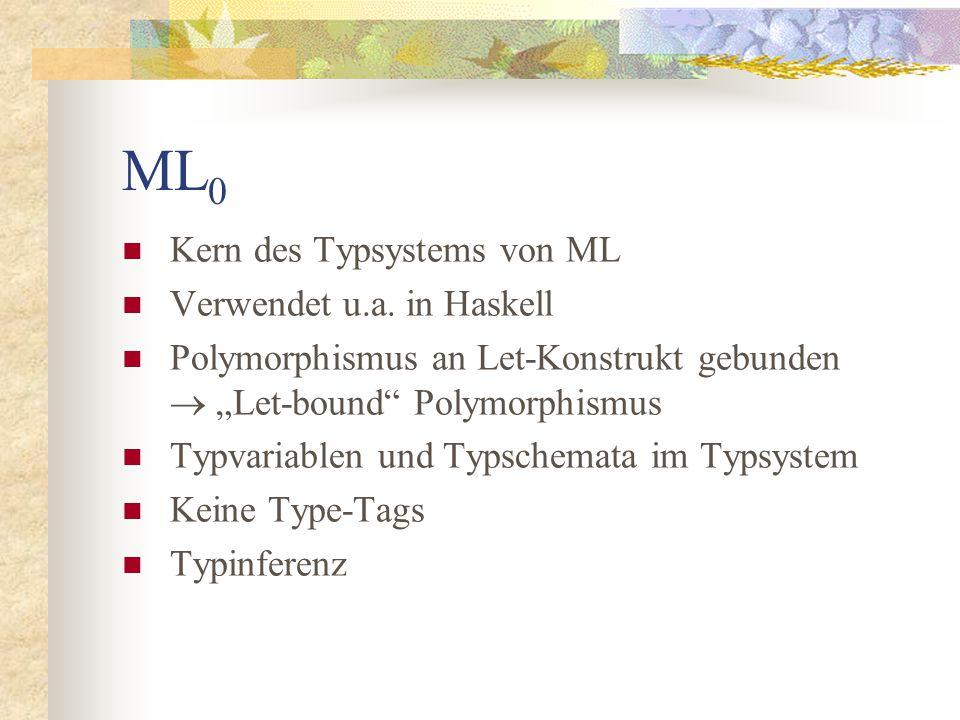 Syntax von ML 0 x  TermVar a  TypeVar t::=a  t  t// Typen T::=t   a.