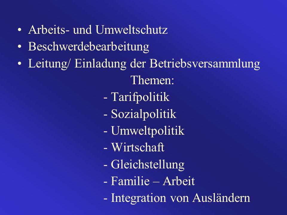 Arbeits- und Umweltschutz Beschwerdebearbeitung Leitung/ Einladung der Betriebsversammlung Themen: - Tarifpolitik - Sozialpolitik - Umweltpolitik - Wi