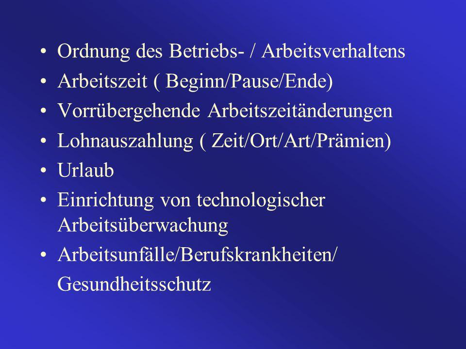 Ordnung des Betriebs- / Arbeitsverhaltens Arbeitszeit ( Beginn/Pause/Ende) Vorrübergehende Arbeitszeitänderungen Lohnauszahlung ( Zeit/Ort/Art/Prämien