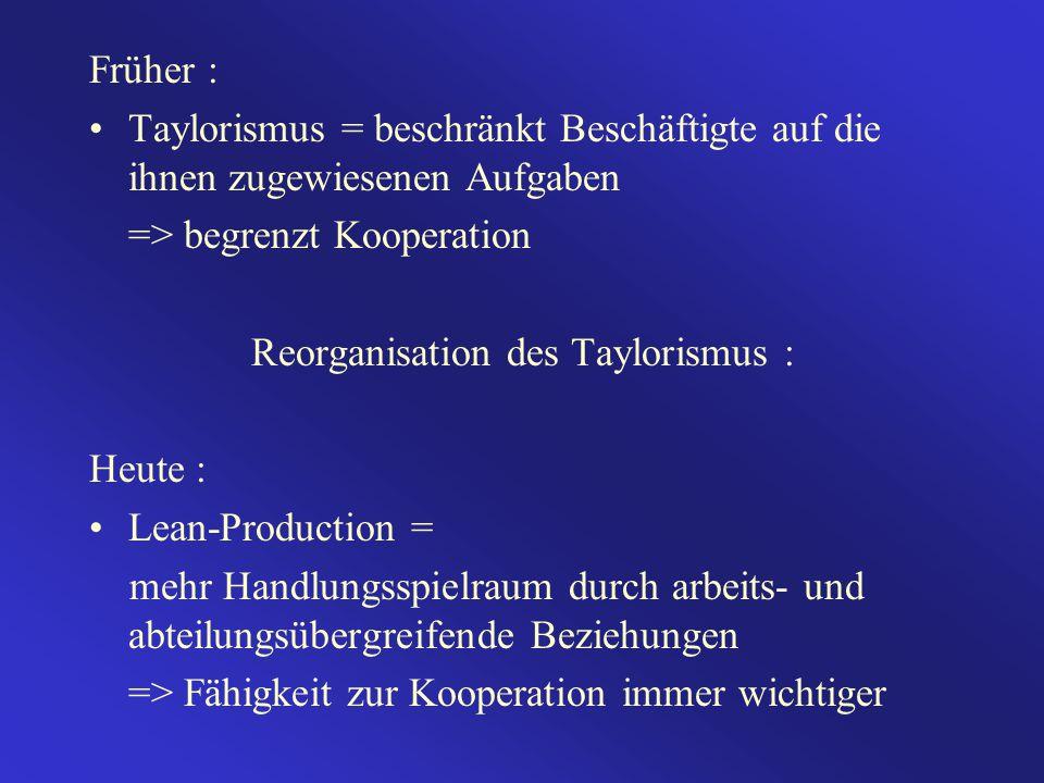 Früher : Taylorismus = beschränkt Beschäftigte auf die ihnen zugewiesenen Aufgaben => begrenzt Kooperation Reorganisation des Taylorismus : Heute : Lean-Production = mehr Handlungsspielraum durch arbeits- und abteilungsübergreifende Beziehungen => Fähigkeit zur Kooperation immer wichtiger