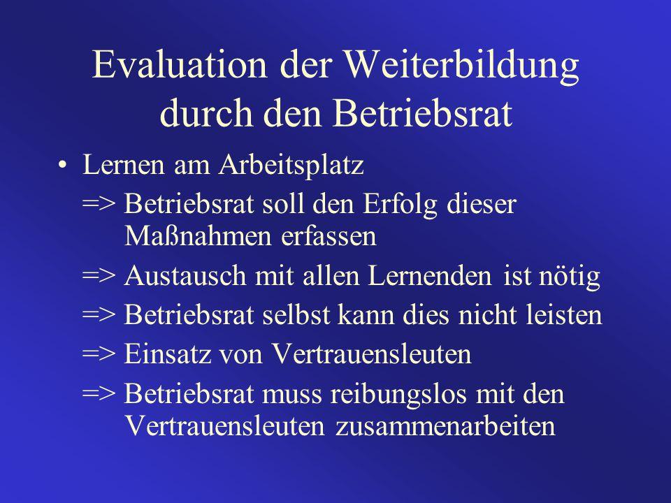 Evaluation der Weiterbildung durch den Betriebsrat Lernen am Arbeitsplatz => Betriebsrat soll den Erfolg dieser Maßnahmen erfassen => Austausch mit al