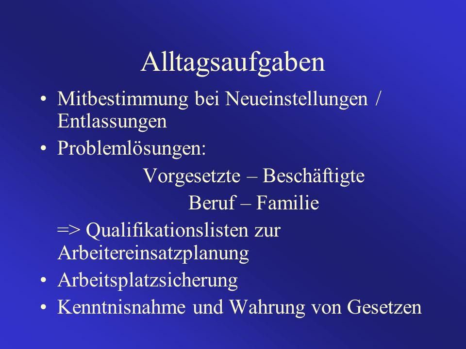 Alltagsaufgaben Mitbestimmung bei Neueinstellungen / Entlassungen Problemlösungen: Vorgesetzte – Beschäftigte Beruf – Familie => Qualifikationslisten