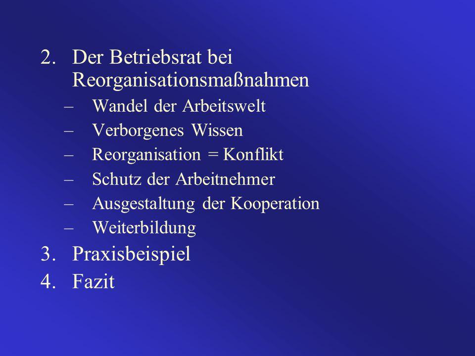 2.Der Betriebsrat bei Reorganisationsmaßnahmen –Wandel der Arbeitswelt –Verborgenes Wissen –Reorganisation = Konflikt –Schutz der Arbeitnehmer –Ausgestaltung der Kooperation –Weiterbildung 3.Praxisbeispiel 4.Fazit