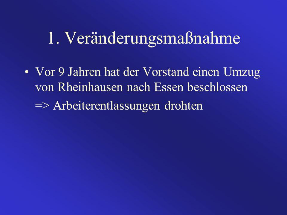 1. Veränderungsmaßnahme Vor 9 Jahren hat der Vorstand einen Umzug von Rheinhausen nach Essen beschlossen => Arbeiterentlassungen drohten