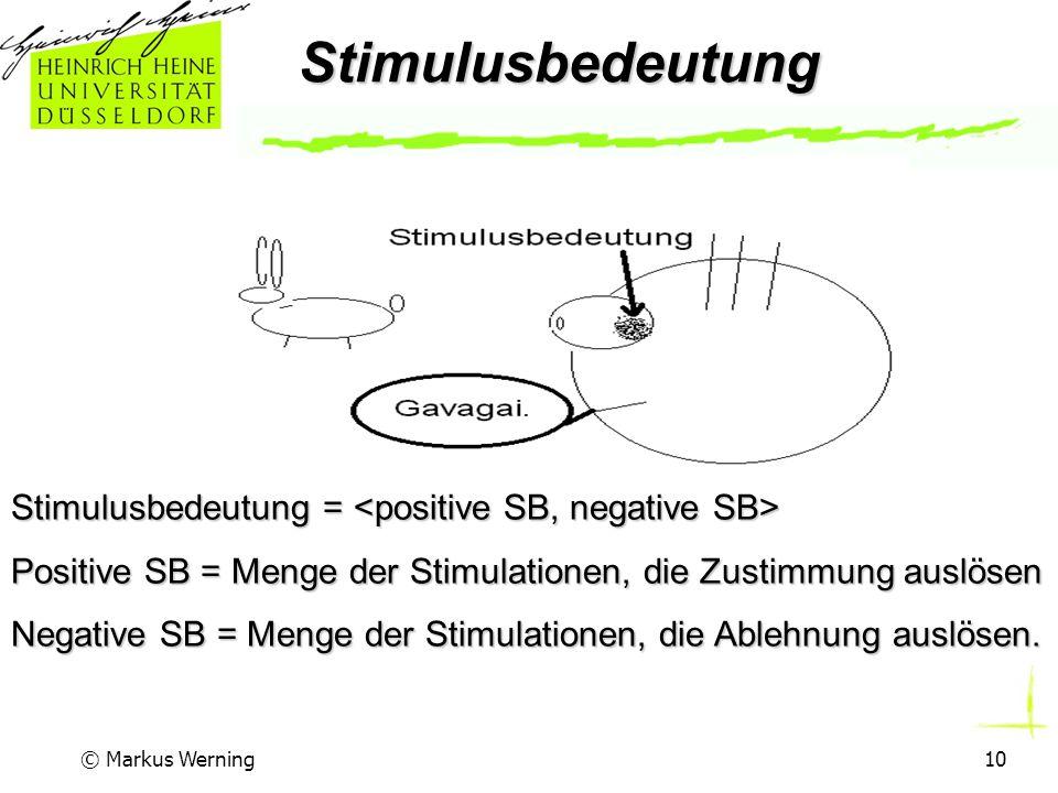 © Markus Werning10Stimulusbedeutung Stimulusbedeutung = Stimulusbedeutung = Positive SB = Menge der Stimulationen, die Zustimmung auslösen Negative SB = Menge der Stimulationen, die Ablehnung auslösen.