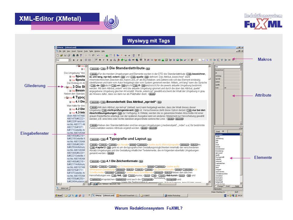 Warum Redaktionssystem FuXML? – 10 – XML-Editor (XMetal) Eingabefenster Attribute Elemente Gliederung Makros Wysiwyg mit Tags