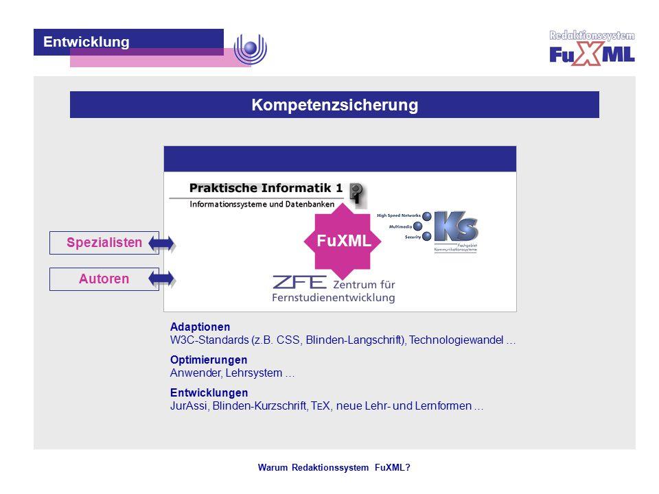 Warum Redaktionssystem FuXML? – 13 – Entwicklung Kompetenzsicherung Entwickler Spezialisten Adaptionen W3C-Standards (z.B. CSS, Blinden-Langschrift),