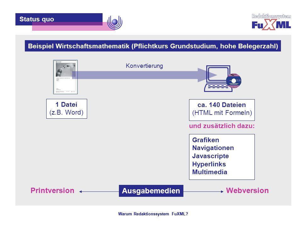 Warum Redaktionssystem FuXML? – 2 – Status quo 1 Datei (z.B. Word) ca. 140 Dateien (HTML mit Formeln) Grafiken Navigationen Javascripte Hyperlinks Mul