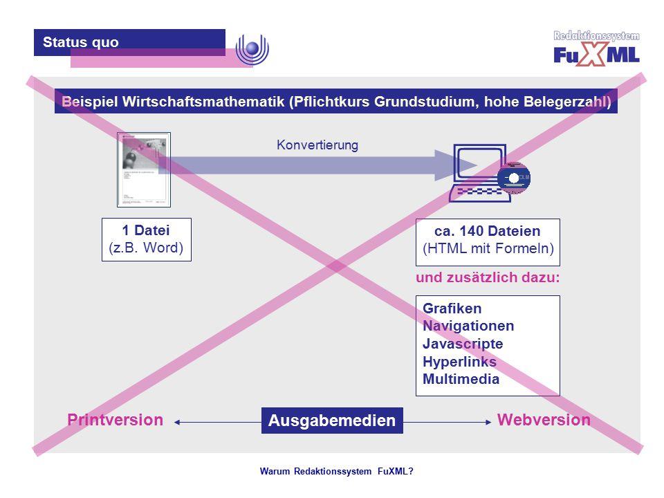 Warum Redaktionssystem FuXML? – 3 – Status quo 1 Datei (z.B. Word) ca. 140 Dateien (HTML mit Formeln) Grafiken Navigationen Javascripte Hyperlinks Mul