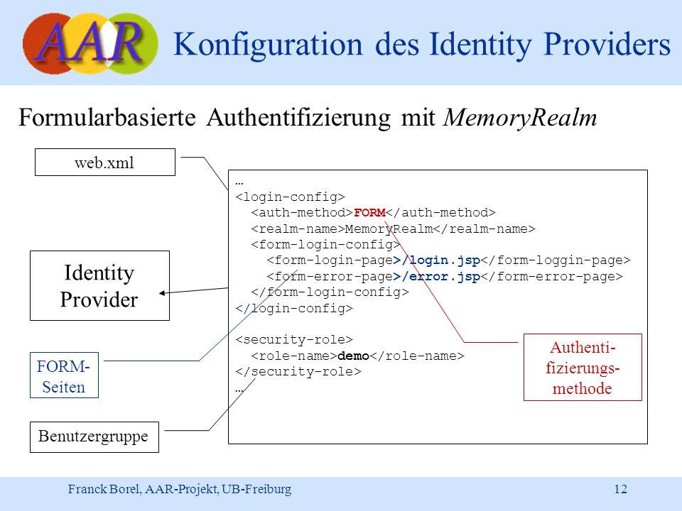 Franck Borel, AAR-Projekt, UB-Freiburg 12 Konfiguration des Identity Providers Formularbasierte Authentifizierung mit MemoryRealm Identity Provider … FORM MemoryRealm /login.jsp /error.jsp demo … web.xml Authenti- fizierungs- methode FORM- Seiten Benutzergruppe