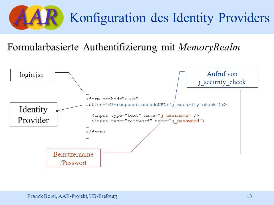 Franck Borel, AAR-Projekt, UB-Freiburg 13 Konfiguration des Identity Providers Formularbasierte Authentifizierung mit MemoryRealm … … … … Identity Provider login.jsp Aufruf von j_security_check Benutzername /Passwort