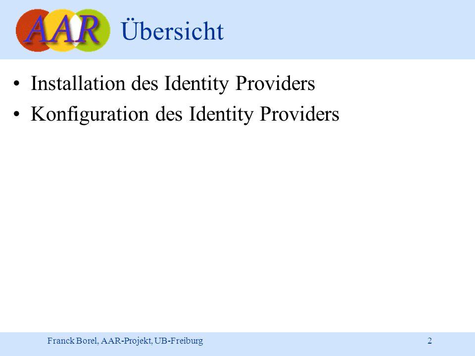 Franck Borel, AAR-Projekt, UB-Freiburg 2 Übersicht Installation des Identity Providers Konfiguration des Identity Providers