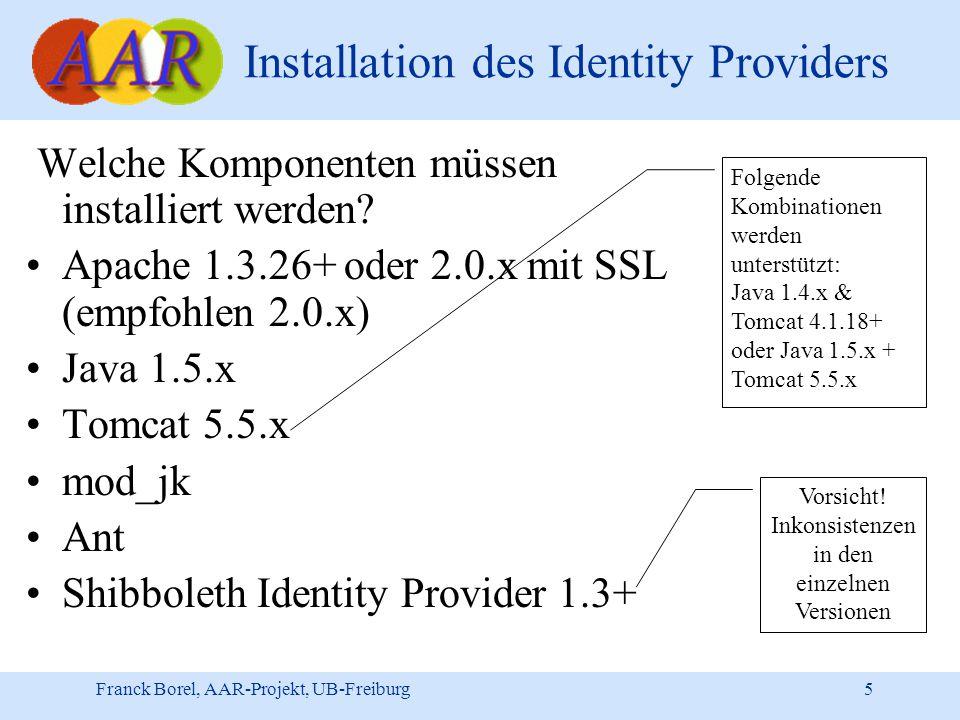 Franck Borel, AAR-Projekt, UB-Freiburg 5 Installation des Identity Providers Welche Komponenten müssen installiert werden.
