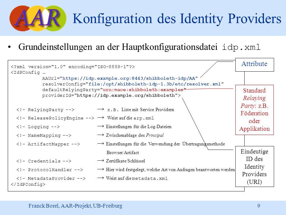 Franck Borel, AAR-Projekt, UB-Freiburg 9 Konfiguration des Identity Providers Grundeinstellungen an der Hauptkonfigurationsdatei idp.xml <IdPConfig … AAUrl= https://idp.example.org:8443/shibboleth-idp/AA resolverConfig= file:/opt/shibboleth-idp-1.3b/etc/resolver.xml defaultRelyingParty= urn:mace:shibboleth:examples providerId= https://idp.example.org/shibboleth > → z.B.