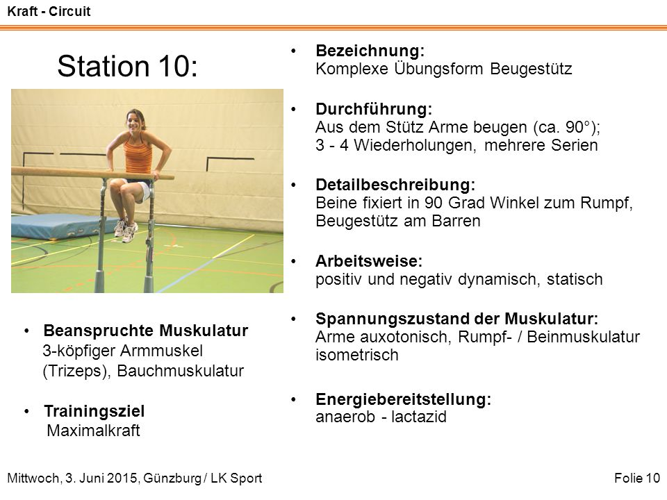 Kraft - Circuit Mittwoch, 3. Juni 2015, Günzburg / LK SportFolie 10 Station 10: Bezeichnung: Komplexe Übungsform Beugestütz Durchführung: Aus dem Stüt