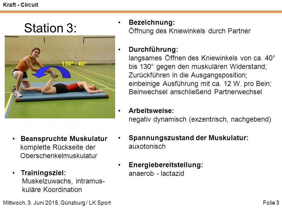 Kraft - Circuit Mittwoch, 3. Juni 2015, Günzburg / LK SportFolie 3 Station 3: Bezeichnung: Öffnung des Kniewinkels durch Partner Durchführung: langsam