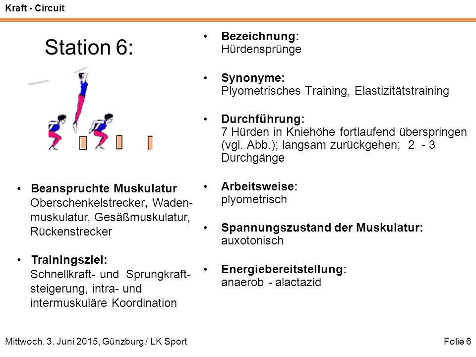 Kraft - Circuit Mittwoch, 3. Juni 2015, Günzburg / LK SportFolie 6 Station 6: Bezeichnung: Hürdensprünge Synonyme: Plyometrisches Training, Elastizitä