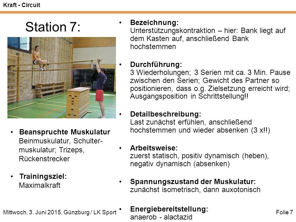Kraft - Circuit Mittwoch, 3. Juni 2015, Günzburg / LK SportFolie 7 Station 7: Bezeichnung: Unterstützungskontraktion – hier: Bank liegt auf dem Kasten